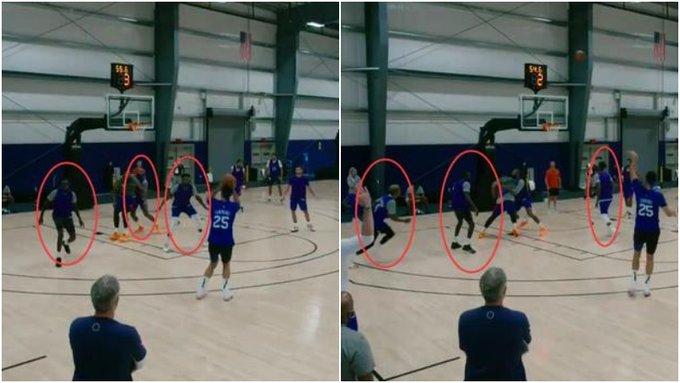【影片】糟糕的投籃連隊友也無法尊重!Simmons隊內賽上演三分遠射,全部球員一窩蜂後撤搶板!