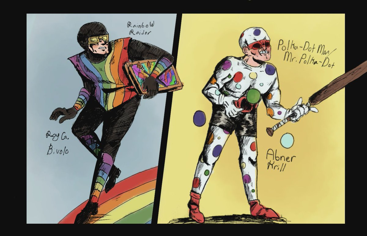 Here's a drawing of Rainbow Raider and the Polka-Dot Man! I wanted to do some experimenting. I've also wanted to draw these fellas for a really, really long time Some goofy DC villains, all in good fun #fanart #villain #art pic.twitter.com/AI6h7JGcbl