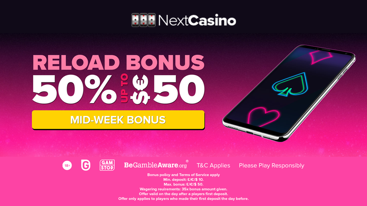 NextCasino has prepared an excellent reload bonus to treat all their players.   Just keep in mind that this offer is valid only the day after a player's first deposit.  Find out more: https://t.co/U5Rdqor9ah  #AskGamblers #casino #bonus #bonusoffer #casinobonus #onlinecasino https://t.co/MEVbdklcxM