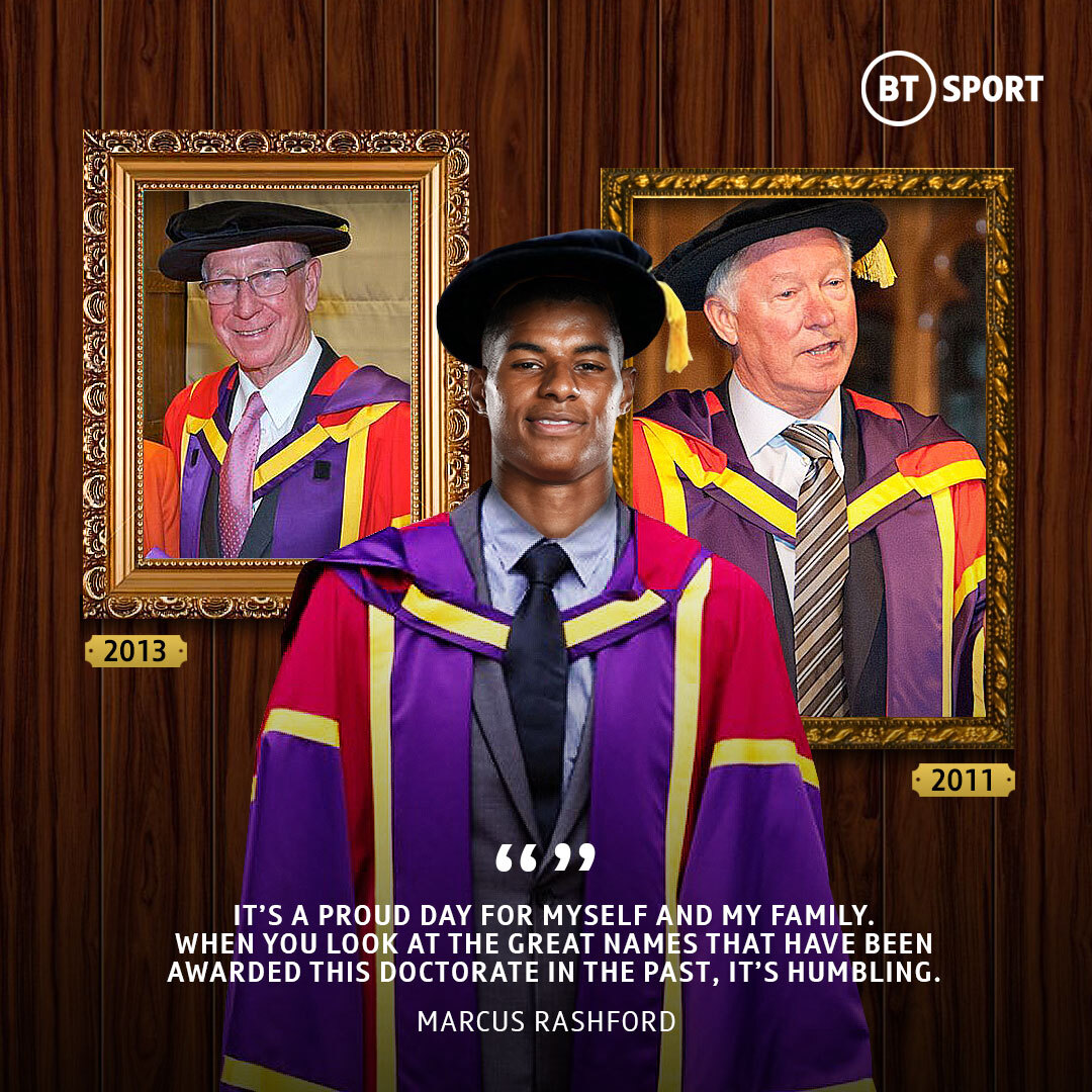 2011: Sir Alex Ferguson 2013: Sir Bobby Charlton 2020: Marcus Rashford  The England forward will become the third Manchester United hero to receive an honorary doctorate from the University of Manchester 🙌 https://t.co/W0PDr6Wzns