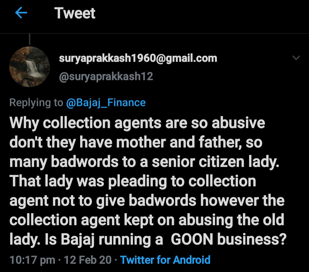 @Bajaj_Finance Bajaj Finance Shameless hasn't taken any action yet against the agent who missold the insurance, The senior citizen is suffering from cardiac arrest because of BajajFinance ,long back the concern was posted however BajajFinance paid no heed. Incompetent Bajaj. pic.twitter.com/fQaZYRFS7b