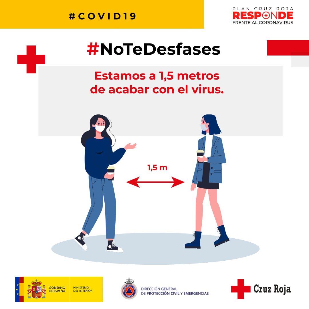 Queremos que #NoteDesfases Campaña junto a  @proteccioncivil para reflexionar sobre todos aquellos gestos de tu día a día que puedes realizar a nivel individual para controlar la trasmisión del #Covid19 #CruzRojaResponde #CyLpic.twitter.com/wzG6R5s5MQ