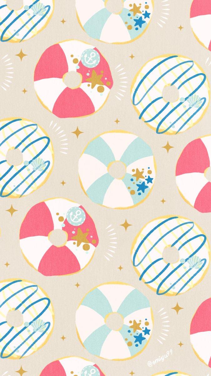 Omiyu みゆき Twitterissa ドーナツな壁紙 夏ver Illust Illustration 壁紙 イラスト Iphone壁紙 ドーナツ Donuts 食べ物