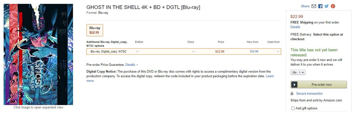 Wtk On Twitter Ghost In The Shell 1995 Anime Film 4k Ultra Hd Available For Pre Order Https T Co X92uk93z1p