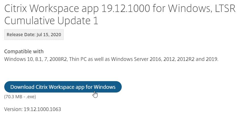 Carl Stalhood On Twitter Download Citrix Workspace App 19 12 1000 For Windows Ltsr Cumulative Update 1 Https T Co Ec7pp3qeub