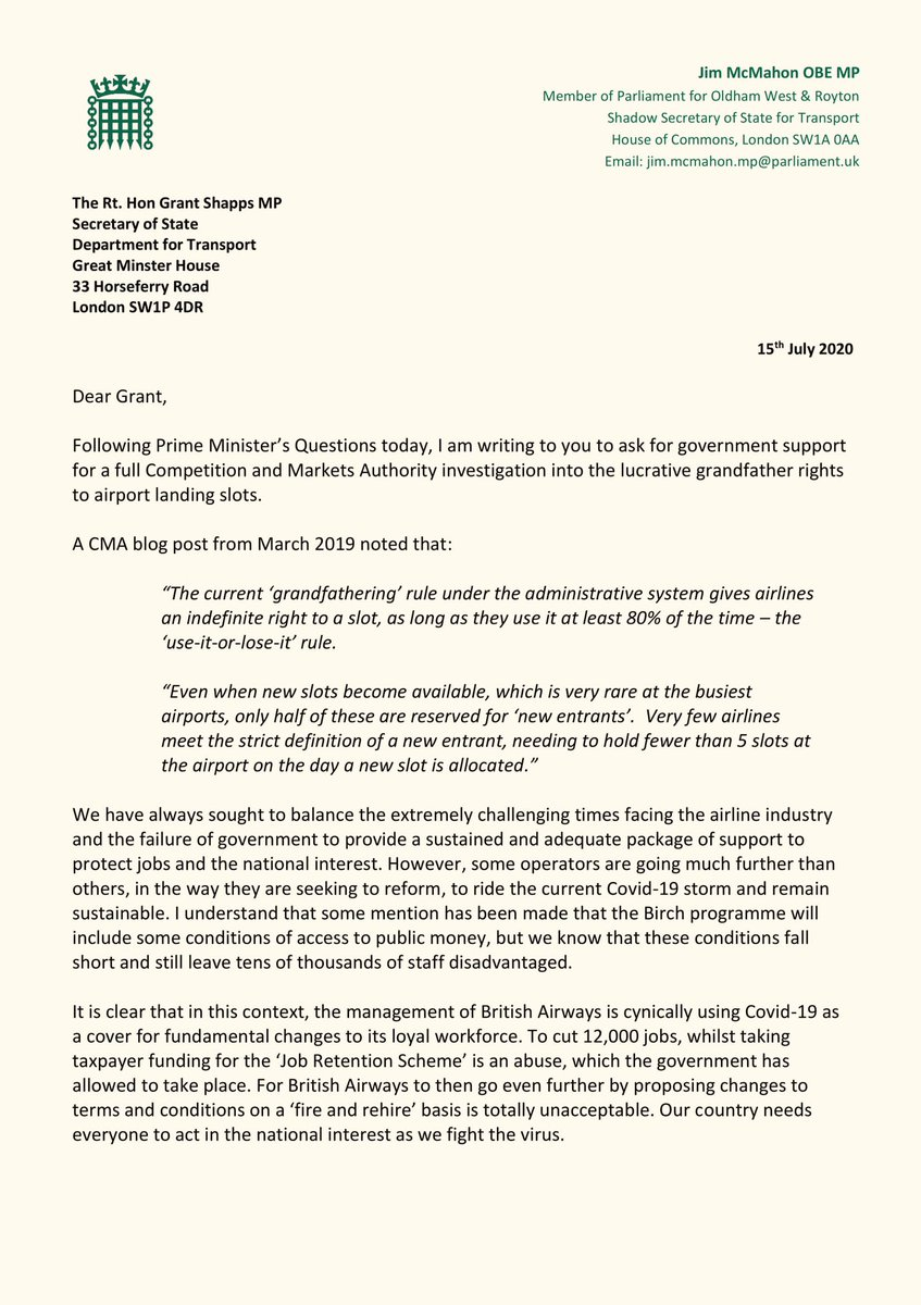 The behaviour of BA management towards its hard-working and loyal workforce has been unacceptable. Labour is calling for a CMA investigation into the grandfather rights to landing slots, enjoyed by certain airlines. I'm once again calling for govt action to support BA staff: