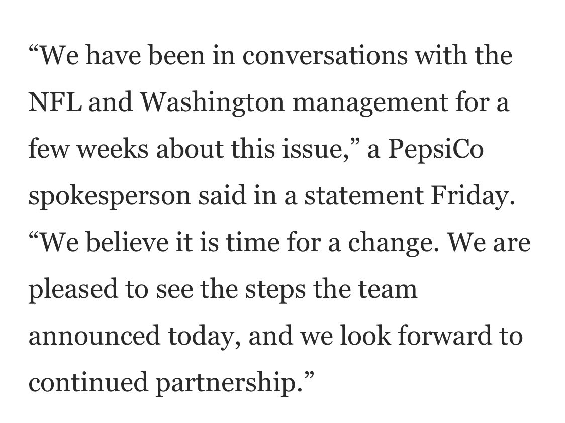"""""""We believe it is time for a change."""" Pepsi's statement, per the @washingtonpost."""