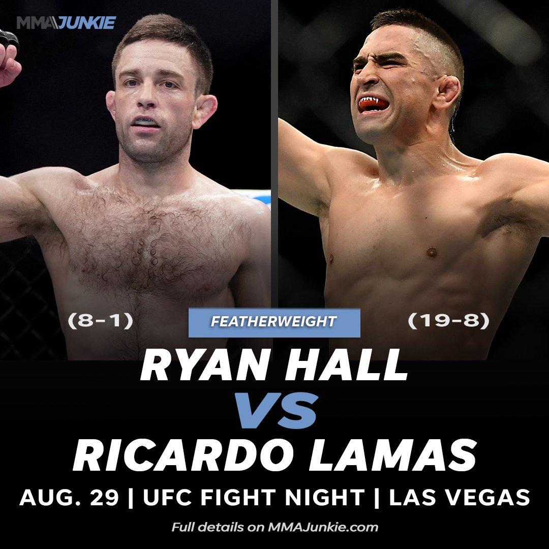 .@RyanHall5050 vs. @RicardoLamasMMA rescheduled for #UFC's Aug. 29 event  Full story: https://t.co/5996Kx8aXw https://t.co/GeVb3B6fMq