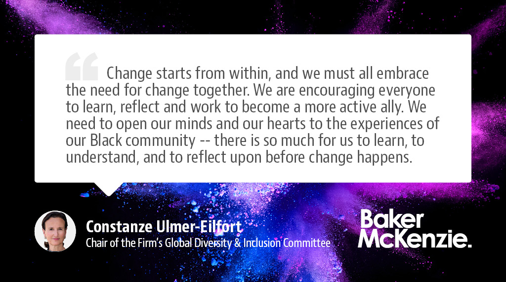 Constanze Ulmer-Eilfort, Chair of the Firm's Global Diversity & Inclusion Committee said that our new Global Race & Ethnicity Task Force will strive to effect change and to really make a difference  https://t.co/umQwJjU4W6 https://t.co/PRLODrkWxz