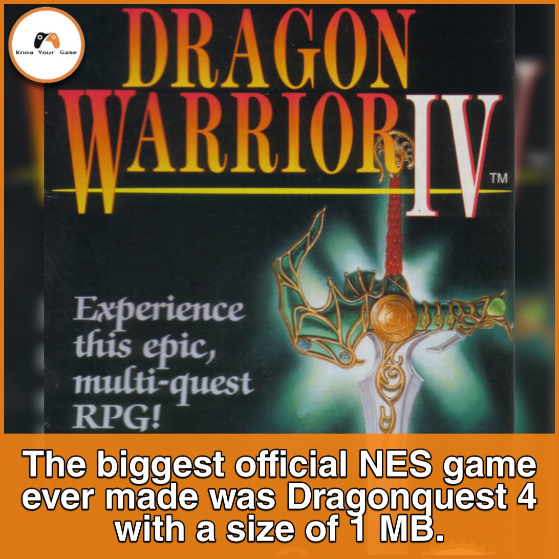 In contrast, some of the system's smallest games took only up 8 KB. #DragonQuest #dragonquest4 #gamingfacts #gamingmemes #pcgames #pcgamer #gamingcommunity #ps5 #gta6 #Cyberpunk2077pic.twitter.com/3Es7NcJs8u