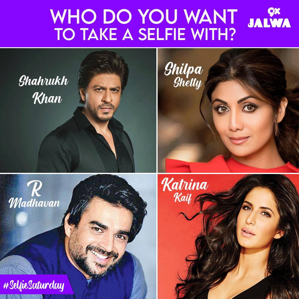 Which actor would you like to take a selfie with? 1. Shah Rukh Khan 2. R Madhavan  3. Shilpa Shetty 4. Katrina Kaif #ShahrukhKhan #SRK #rmadhavan #maddy #ShilpaShetty #katrinakaif #srk28