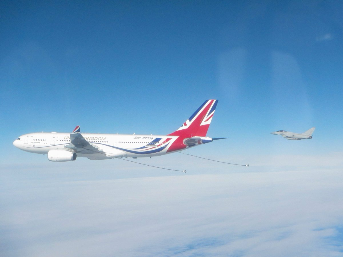 RAF Typhoons were scrambled today to monitor Russian long-range aircraft flying in international airspace north of Scotland.  A Voyager was also launched to conduct Air-to-Air Refuelling.  Full story: https://t.co/ozYqn2cgkw https://t.co/zXIfpGqDBM