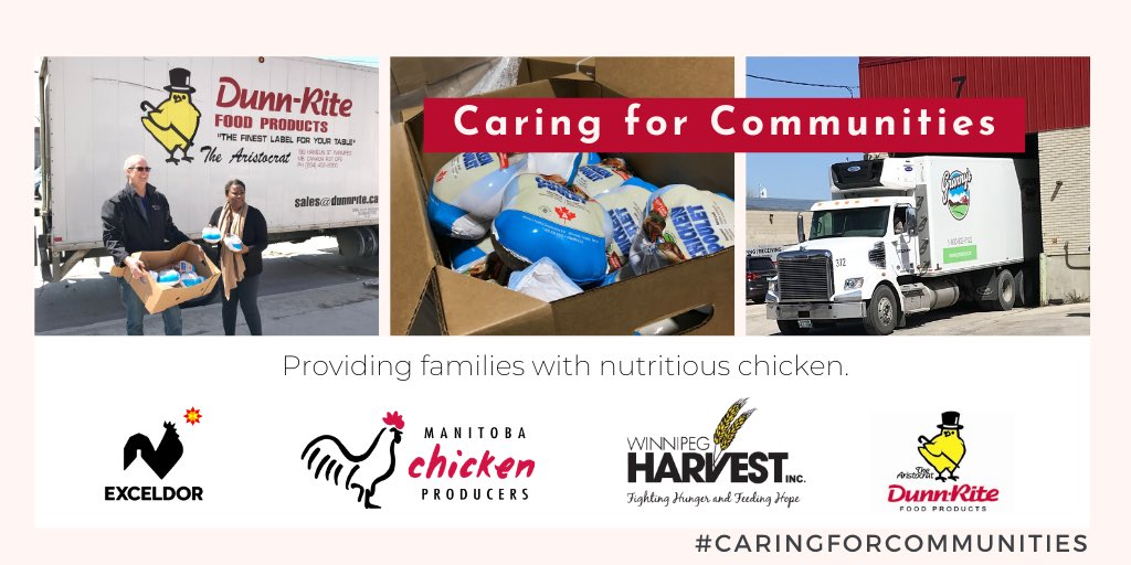 1/2: With the generosity of our #mbchicken farm families & industry partners #DunnRite Foods & @Exceldor we're pleased to formally launch our #CaringForCommunities partnership with @winnipegharvest - As of July we're committed to providing Harvest with 1,000 chickens per week. https://t.co/vxiHvjkMEr