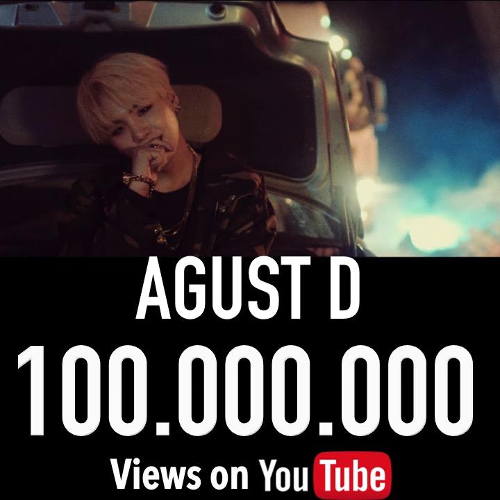 #BTS' #Suga Hits 100 Million Views on YouTube with his 1st Music Video As #AgustD! @BTS_twt  https://www.facebook.com/worldmusicawards/posts/3103780276369731…pic.twitter.com/vTzX6Vw6eB  by sadtirist (kinda hiatus)