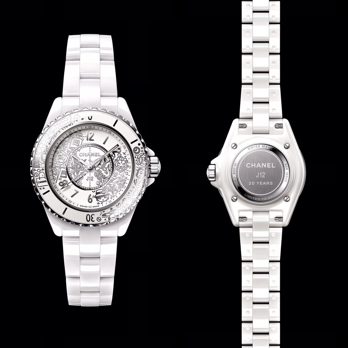 La J12 fête ses 20 ans avec une création anniversaire exclusive, un modèle en céramique blanche, serti de 12 diamants, tatoué de 20 symboles  de #CHANEL. #J12Turns20 #CHANELWatches 👉 https://t.co/D1Kctf3DPO L'héritage de Coco Chanel #espritdegabrielle https://t.co/8UJmV1FjCG