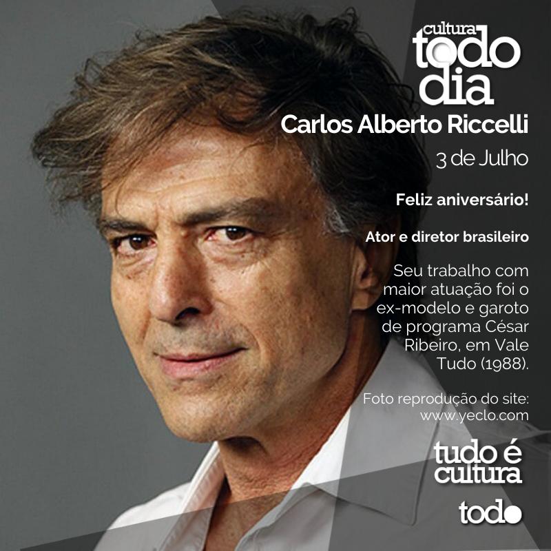 Carlos Alberto Riccelli  3 de Julho  Feliz aniversário!  Ator e diretor brasileiro  Foto reprodução do site:   #cultura #todocultura #tudoecultura #culturatododia #ator #diretor #carlosalbertoriccelli