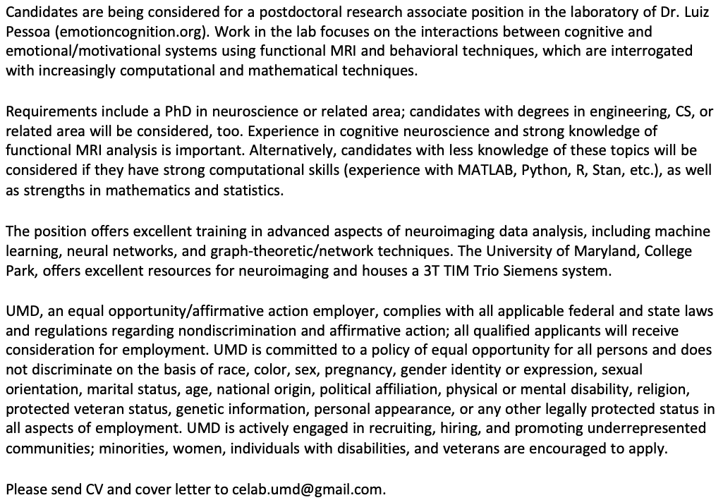 *Neuroimaging postdoc: please share widely* We're looking for a computationally oriented postdoc to join the lab at College Park. Research on the dynamics of affective and motivational processing with lots of techniques. https://t.co/U56Fs7dGBn