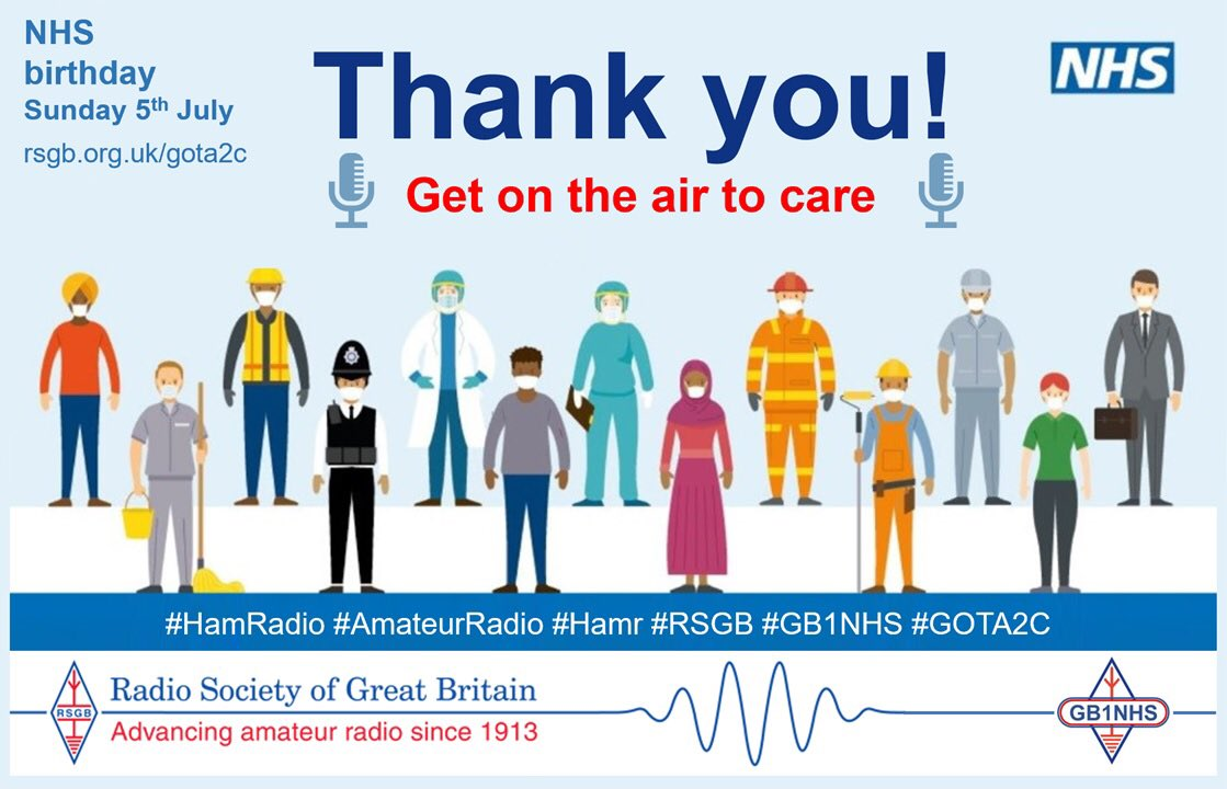 Calling all #HamRadio operators. Just a reminder to 'get on the air to care' this Sunday 5th July to celebrate the 72nd  birthday of the NHS. Please tweet photos to @GB1NHS and @theRSGB #GOTA2C  @NHSuk @ECISTNetwork @NHSEnglandMedia https://t.co/2s2Onwlb9B… https://t.co/tU2i52AOqY