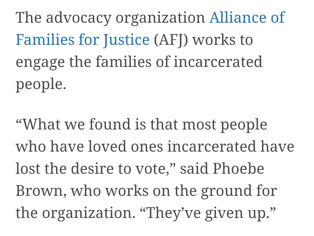 Most people who have loved ones incarcerated have — learned that electoral politics are not an effective or realistic means to bring about change or tangible improvements to their lived circumstances.*  You should too.   @SoffiyahElijah @afjny https://t.co/SN2a8j1KKK
