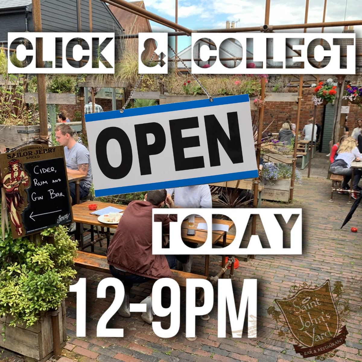 CLICK & COLLECT open today 12-9pm! Also on @deliveroo 👌 We are busy preparing for our opening day tomorrow but can't wait to start welcoming you all back 🤗 • #supportlocal #tunbridgewells #burgers #saintjohnsyard #takeaway #clickandcollect #food #deliveroo #foodie #pub #kent