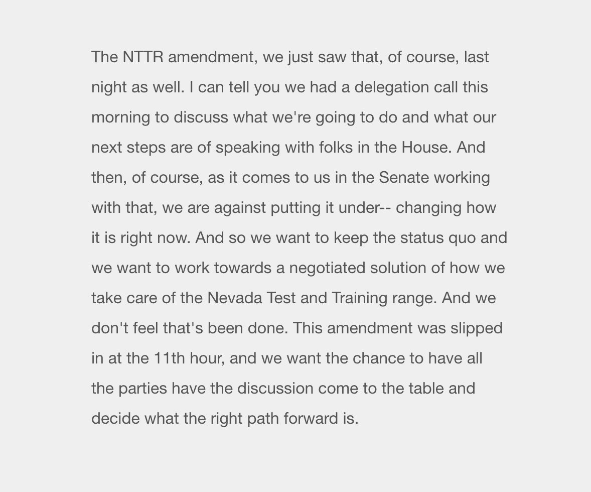 "Asked by a reporter, @RosenforNevada also briefly commented on the Nevada Test and Training Range amendment, calling for a ""negotiated solution""  ""we had a delegation call this morning to discuss what we're going to do and what our next steps are""  #NVpol #NVsen <br>http://pic.twitter.com/q9t010PYtO"