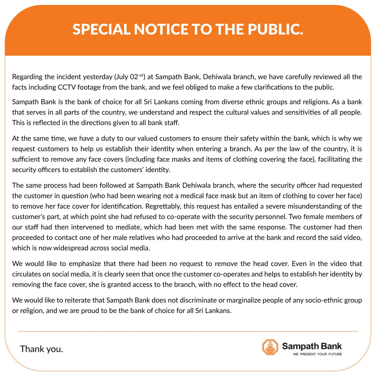 SPECIAL NOTICE TO THE PUBLIC #SampathBank #SampathPLC https://t.co/Sq3o2lAGCo