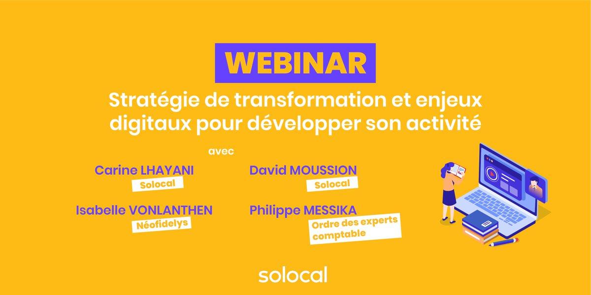 """Nous donnons un #Webinar le vendredi 10/07, de 17h à 18h sur le thème : """"Stratégie de transformation & enjeux digitaux pour développer son activité"""" ! Pour vous inscrire, envoyez un mail à : webinar@solocal.com https://t.co/EqnZJS5fvZ"""