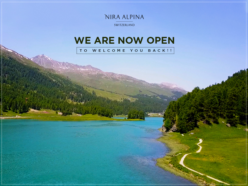 #GoodNews Alert!!  The shimmering lakes, green meadows and the majestic Alps await your arrival. #NiraAlpina is now open to welcome you back for another delightful summer season! #NowOpen #ShantiCollection #ShantiMoments #DesignHotel #SwissAlps #StMoritz #Engadin #TheAlps https://t.co/4VwiqF3cM3