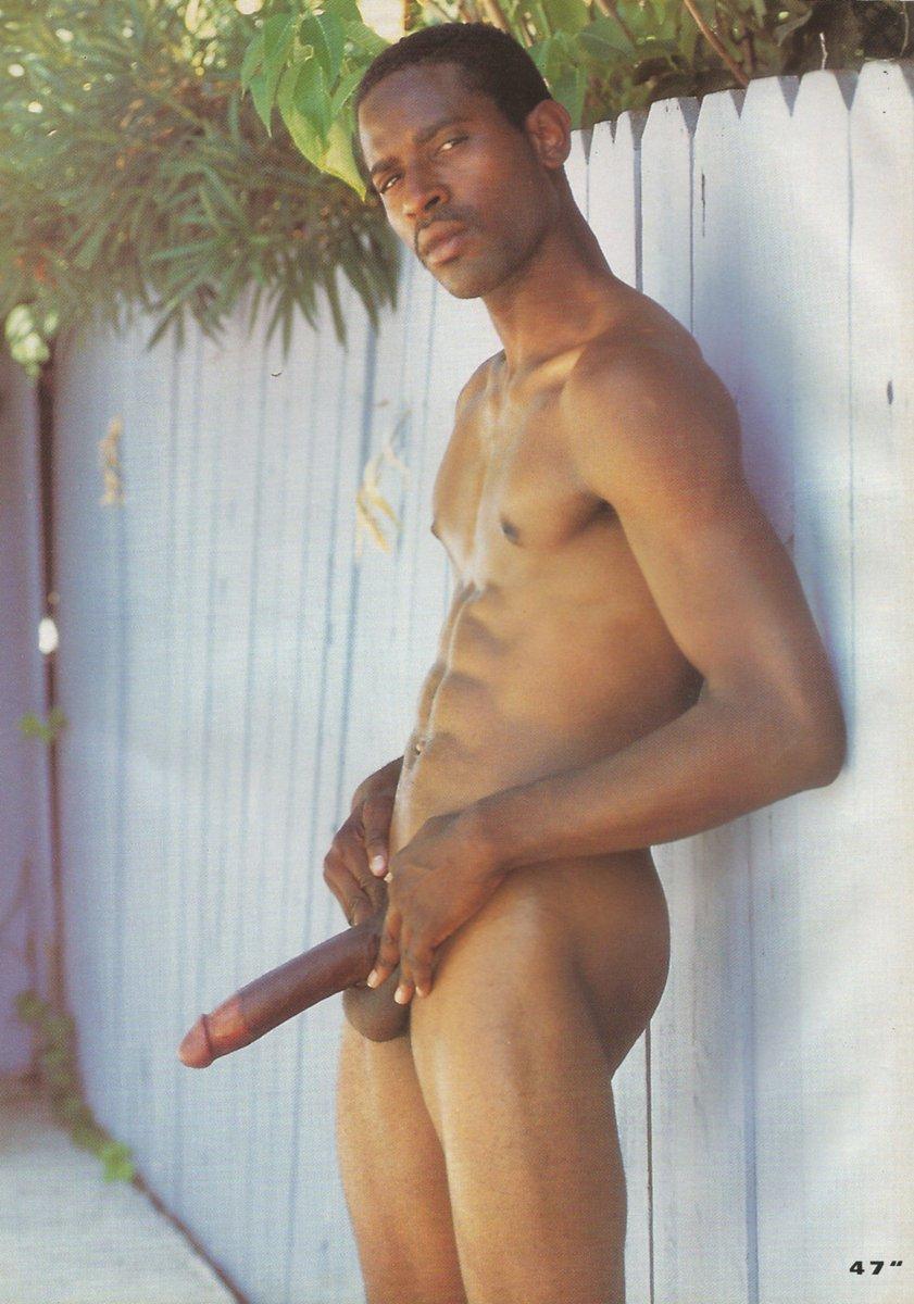 Big black men stroking his huge cock