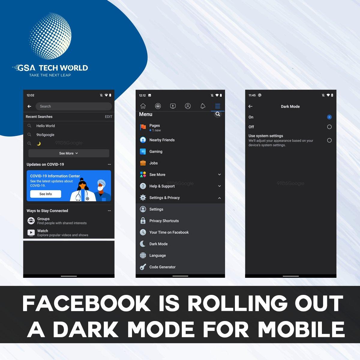 Facebook is Rolling Out A Dark Mode For Mobile  Read More:  https:// bit.ly/38vyRhh      #facebook #facebookapp #facebookredesign #gsatechworld #webdevlopement #webdeveloper #iosdeveloper #androiddeveloper #iosdevelopment #androiddevelopment <br>http://pic.twitter.com/O8HHyJd8T0