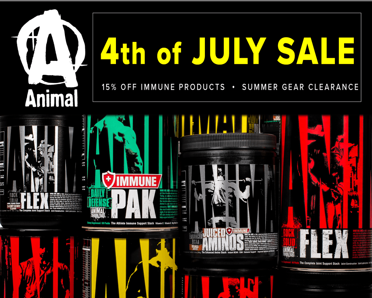 .@Animalpak is running 50% off select gear and 15% off all Health and Immune products until July 7th. Pick up some of the industry's best products and the most sought-after gear. Only at https://t.co/0YqpgcWfg3. Happy 4th of July. #ad https://t.co/oBKj7Irt4K
