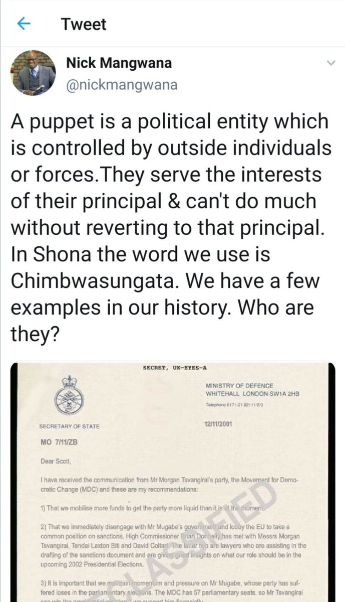 """Majaira Jairosi on Twitter: """"Briton @nickmangwana undermining is country by  spreading fake documents, meant to tarnish the image of the Queen & the  British gov't. Nick, this will not end well. @foreignoffice @"""