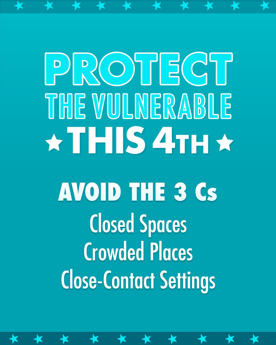 Avoid the 3 Cs and make sure you wear a mask to help protect the most vulnerable this 4th.