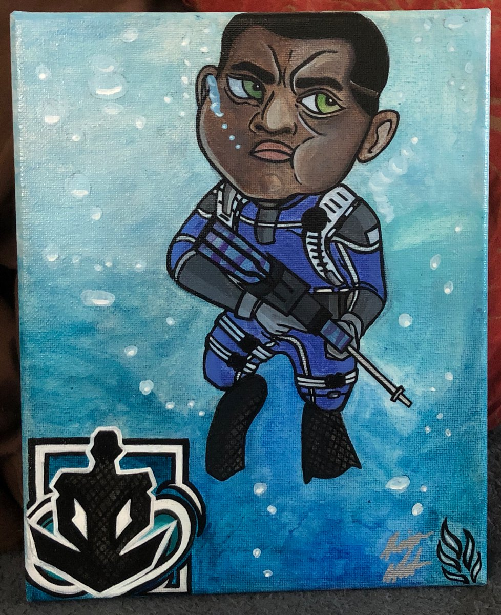 My latest painting!  This one is a smaller piece (8 x 10), and my first attempt at doing underwater themed art. I hope you all enjoy it! More art on the way! #Wamai #RainbowSixSeige #VideoGameArt #acrylpaintingpic.twitter.com/NOCmM6cA1m