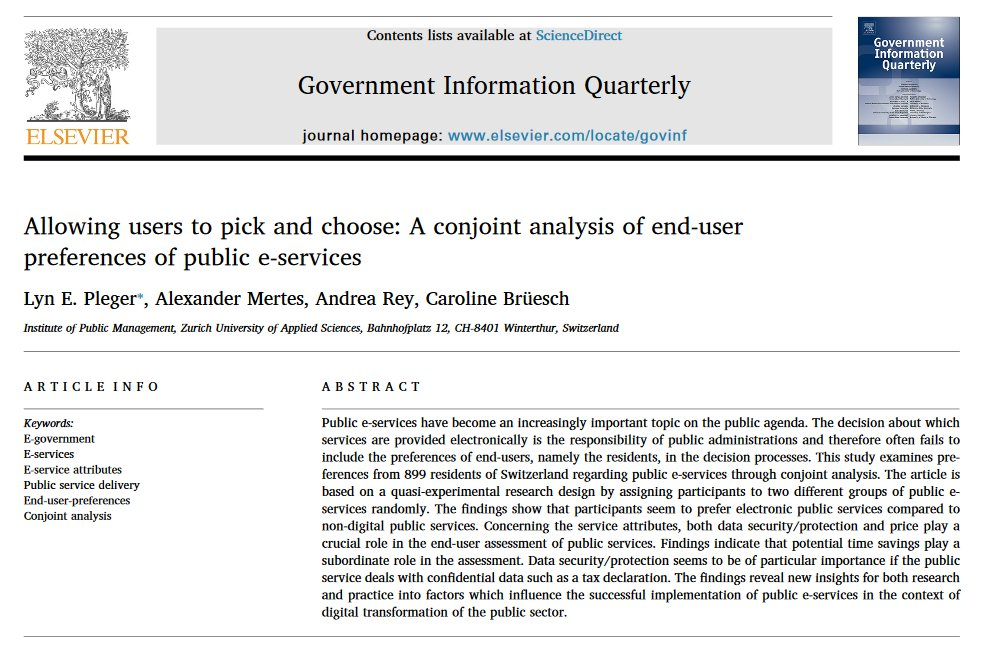 What is important to users of public #eservices? Short answer: #dataprotection, #datasecurity & price  Detailed answer  check out our new study in #GIQ   Allowing users to pick and choose: A conjoint analysis of end-user preferences of public e-services https://doi.org/10.1016/j.giq.2020.101473…pic.twitter.com/Re2stvLxx0
