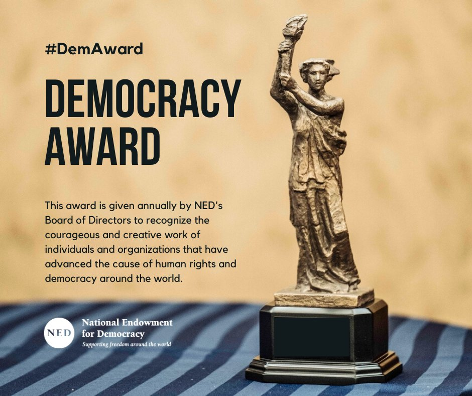 National Endowment for Democracy will pay tribute to the people of Sudan and their historic 2019 revolution when it honors three organizations working tirelessly to strengthen civil society in Sudan with the 2020 Democracy Award. #DemAward #NEDemocracy  https://www. ned.org/2020-democracy -award/  … <br>http://pic.twitter.com/OwxhcW7dlP
