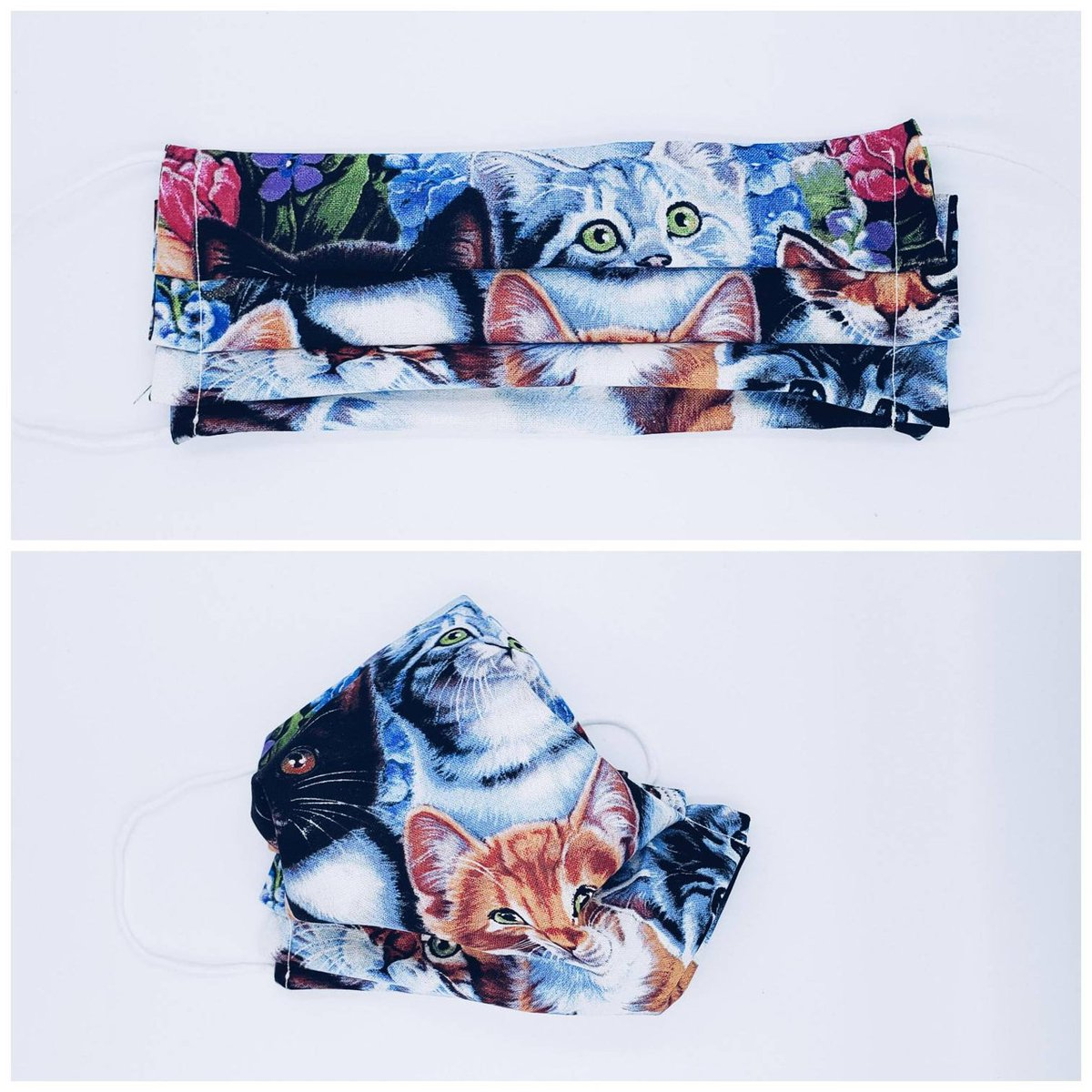 Get a Cat Fabric Face Mask today! . . .  . . . #FabricFaceMask #FaceCovering #ClothFaceMask #Handmade #Etsy #Cat #Kitten #CatLover #KittenLover #CatLady #StaySilly