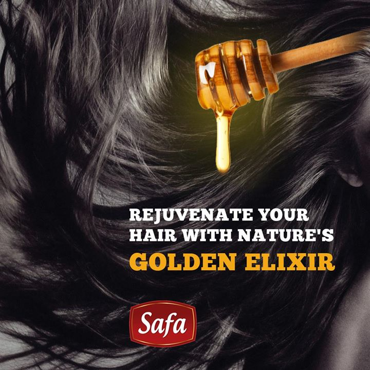 Honey retains and attracts moisture, giving your hair plenty of life and bounce while making it feel smooth and healthy. Tip : Simply rub diluted honey on your scalp and massage for a few minutes and leave it on for 30 minutes.   #safahoney #honey #hairstyle #hair #haircut