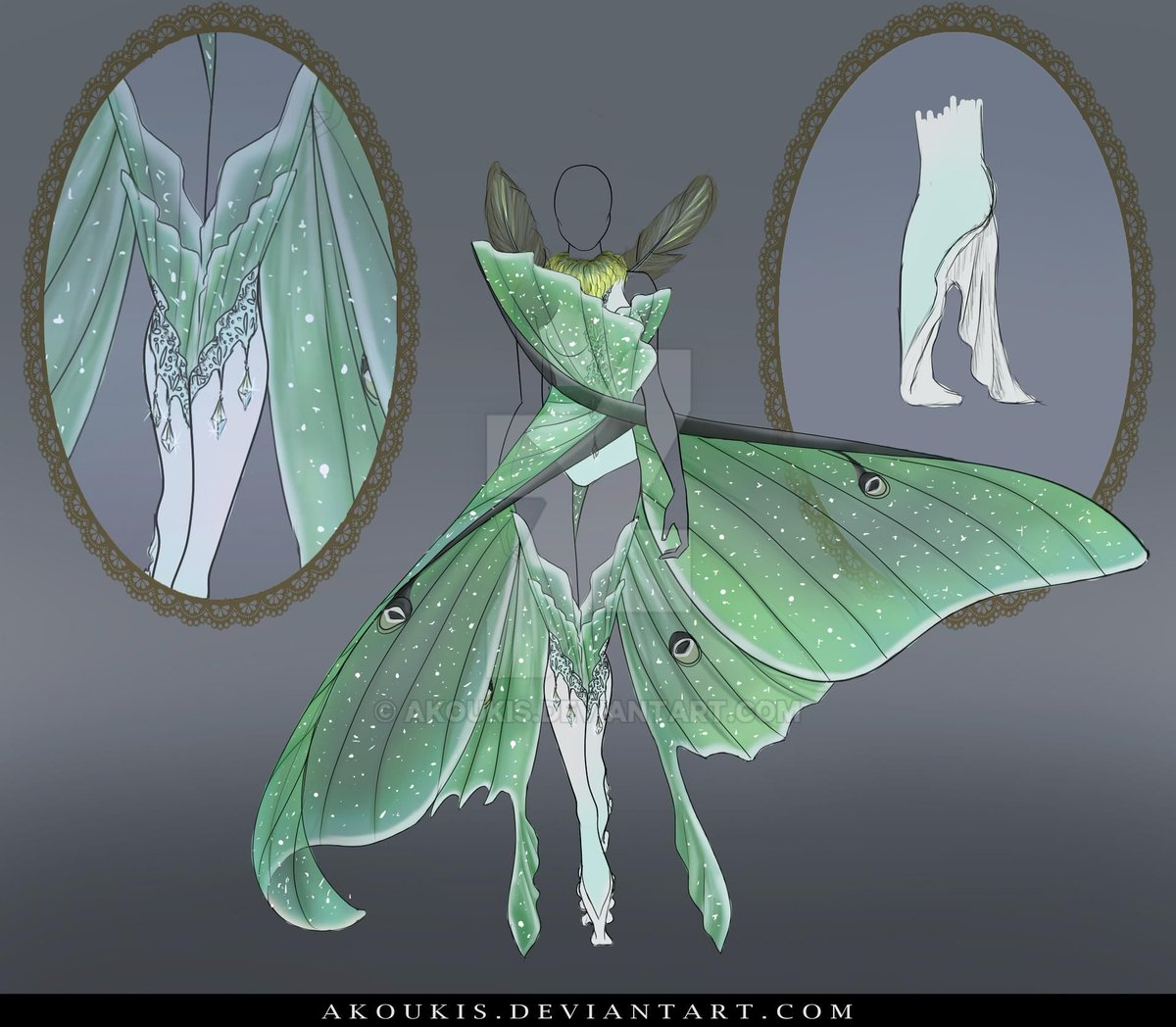 New auction is up on my @Deviantart gallery! This time it's based on the beautiful luna moth! https://t.co/s7YAdqtzik #fashion #auction #design #lunamoth #moth #butterfly #green #beautifull #adopt #adoptable #couture #hautecouture #fairy #dress #gown #fantasygown #inspiration https://t.co/yO8k8Mp3j7