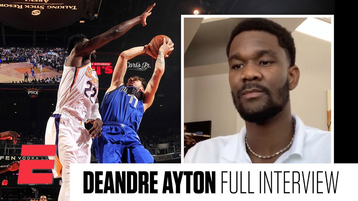 New on ESPN: An inside look at how Deandre Ayton is evolving into one of the most promising young two-way bigs in the NBA. https://t.co/0WYGqudBbY  I also broke down film with Ayton. We analyzed his impressive growth as a rim protector and PnR defender: https://t.co/MLAjEbKYXD. https://t.co/3s1QjEiDR4