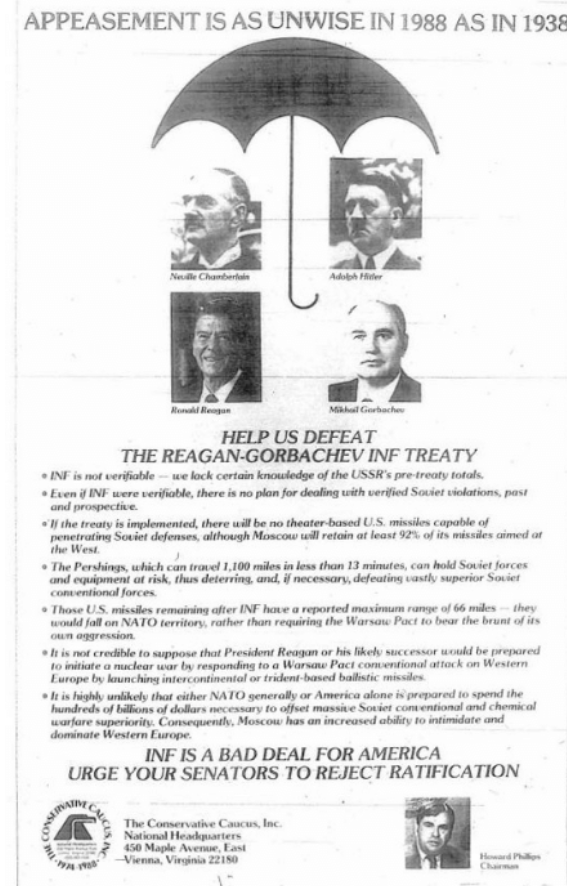 Heres a 1988 ad by the far-right Conservative Caucus comparing Reagan to Neville Chamberlain and accusing him of appeasing Moscow because Reagan was working to improve relations with Kremlin leaders. This is now the heart of Democratic Party politics: twitter.com/fedbooks/statu…