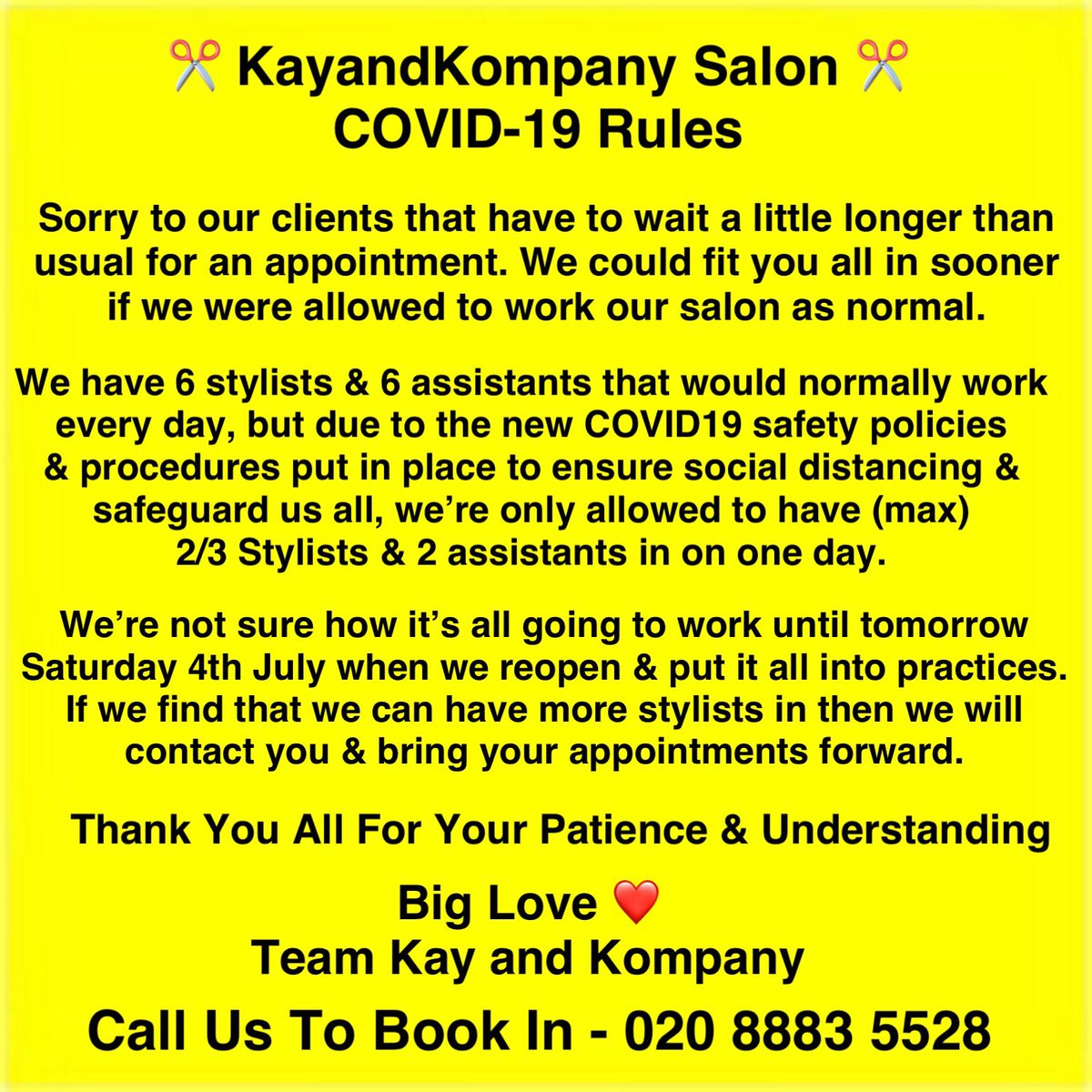 💓Oh How Much Have We Missed You All!  ✂️Just One More Sleep & We're Back On The Salon Floor Doing What We Love Best! #lovemyjob   Don't Delay Call Us To Book in 📞020 8883 5528 - Our Lovely Receptions 🙋♀️ Will Be Ready & Waiting To Personally Take Your Calls  #kayandkompany #hair