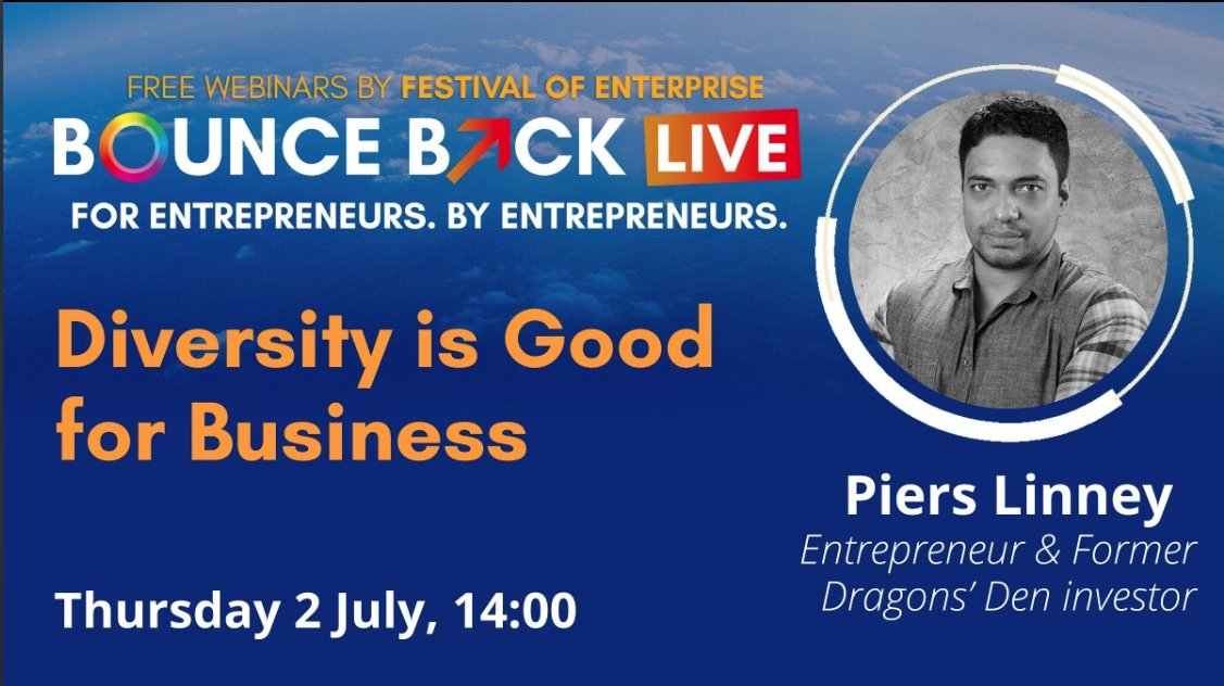 Fantastic 1:1 with @pierslinney with #festivalofenterprise #bouncebacklive Great insight how diversity helps, rather than hinders, business. Thank you for being candid and informative. Great to hear about your business initiatives. https://t.co/mnlzxh0zSG