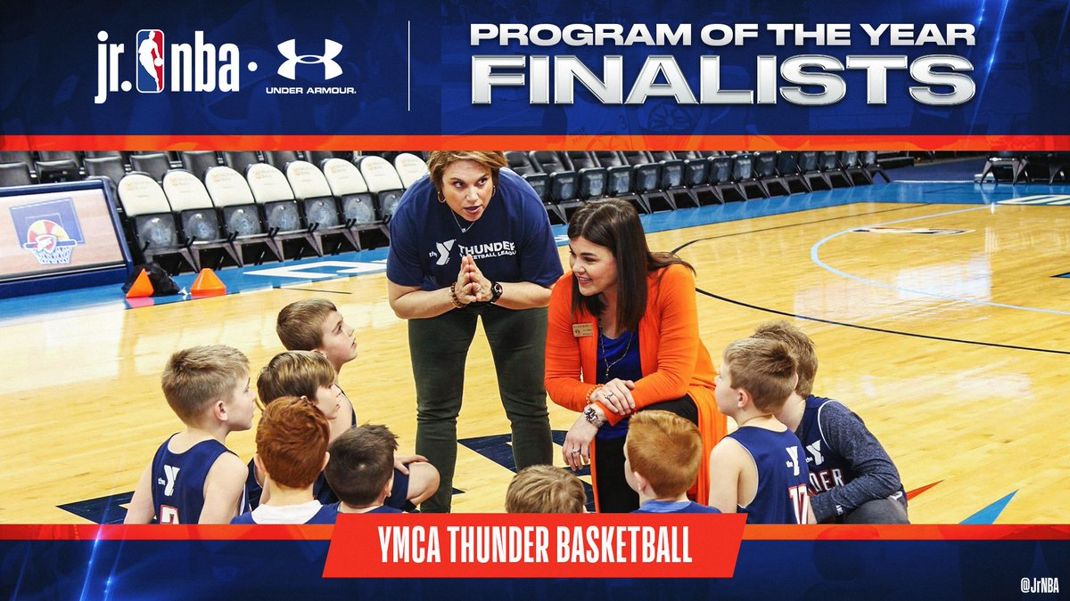 Check out #JrNBAProgramOfTheYear Finalist, YMCA Thunder!   YMCA OKC is dedicated to youth development on and off the 🏀 court, as well as emphasizing healthy living and social responsibility for its athletes. Great work‼️ https://t.co/O446vsrLaF