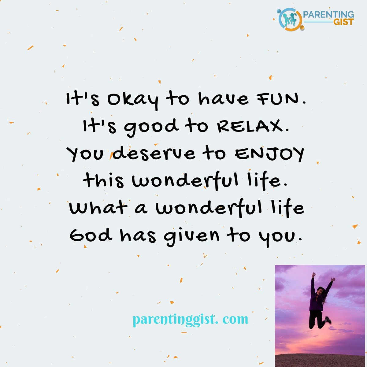 It's okay to have #fun . . It's good to #relax  . . You deserve to #enjoy this #life . . What a #wonderful life #God has given to you. . . . . . . . #selfcarequote #parentinggist #happiermoms #weekendvibes #justice #peace #blm #stayinghappy #strongmoms #blackmentalhealthpic.twitter.com/bweWywg82V