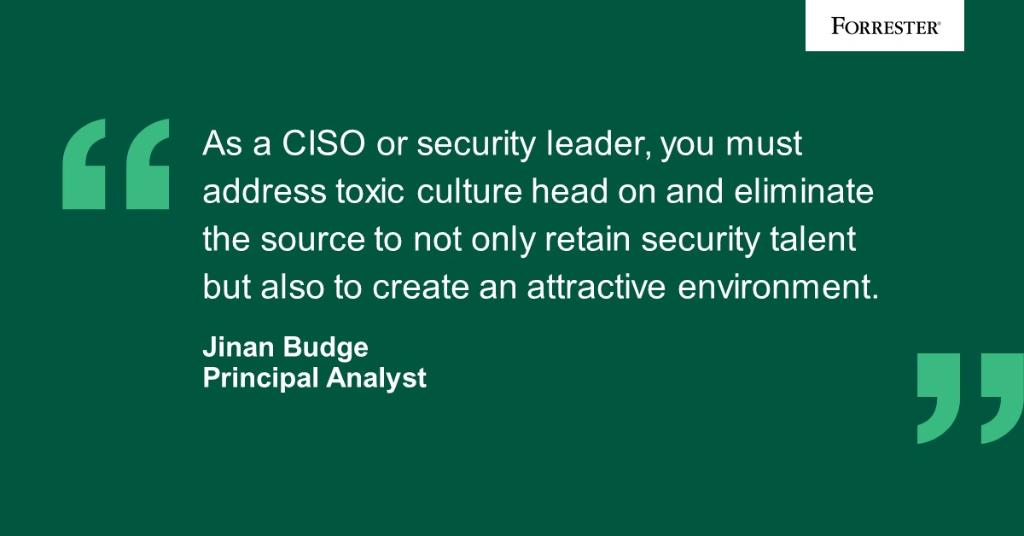 Four things a #CISO must do to address toxic culture: 1. Acknowledge the issue exists 2. Fix the hero complex ASAP 3. Take ownership of the issues 4. Seek out coaching for yourself and your team forr.com/31N2Q37