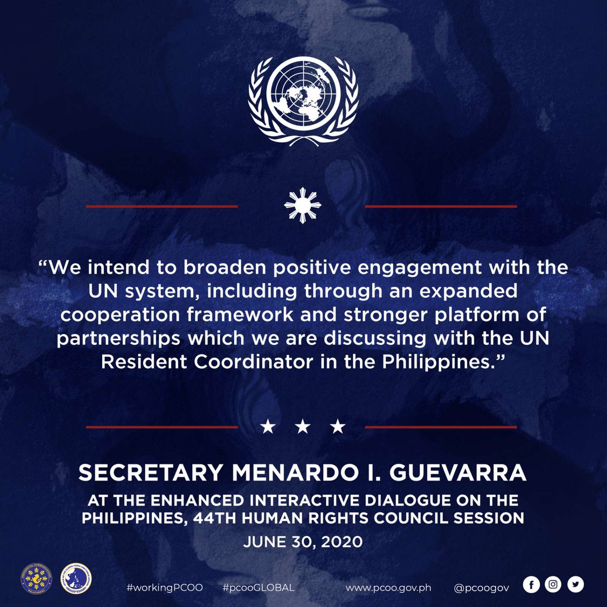 At the Enhanced Interactive Dialogue on the Philippines of the 44th Human Rights Council Session on June 30, 2020,  @DOJPH Secretary Menardo Guevarra delivered a virtual speech highlighting the mechanisms of the Duterte Administration to promote transparency and accountability. https://t.co/zD7qL680rU