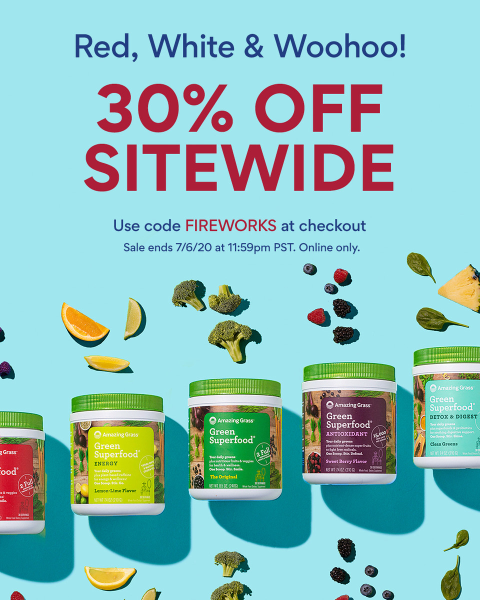 Red, White and Woohoo! 🇺🇸  It's the hottest sale of the long weekend. Let your health sizzle this season with discounts on our bestselling Greens, Proteins, Effervescents and more.  Let sparks fly with 30% off sitewide! ➡️ Use code FIREWORKS  Shop now: https://t.co/HrB4mv4zcQ https://t.co/88ObWOTs4L