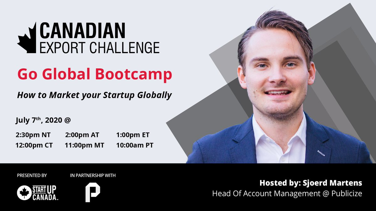In Partnership with @PublicizePR, join us on July 7th at 1PM EST for a CXC Go Global Bootcamp! This bootcamp will focus on how to market your startup globally!  https://t.co/6iGRo1LPKw https://t.co/bmous3MvNg