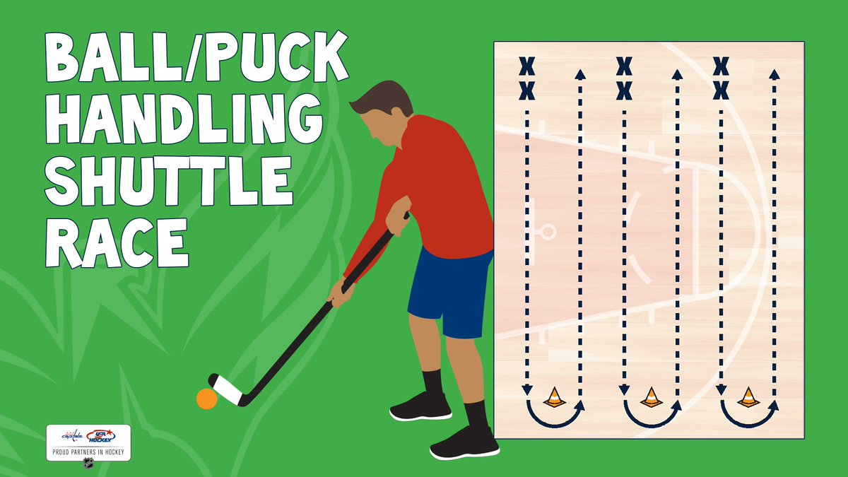 Practice your stickhandling skills by racing against a friend or timing how fast you can stickhandle down to a cone (or any other object) and back! Focus on keeping your head up and looking ahead of you instead of at the ball/puck. #stickwithfitness #hockeyathome #ALLCAPS https://t.co/0ZYkoSucnw
